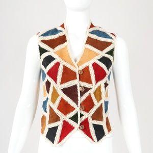 Vintage Suede Crochet Patchwork Vest Sz S